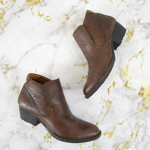 Born Brown Leather Slip On Ankle Boots Booties 8.5